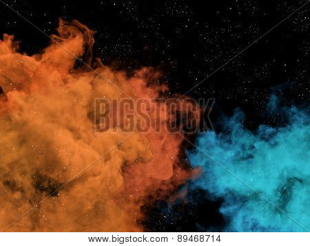 Blue And Orange Nebulas And Stars In Cosmos