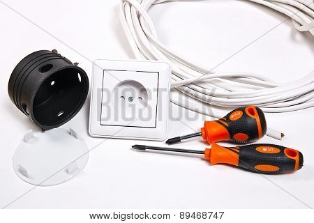 Electrician Tools, Cable, Box For Installation Of Sockets And Wall Socket