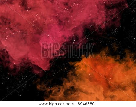 Pink And Orange Nebulas And Stars In Cosmos