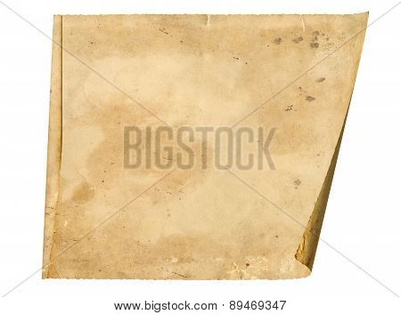 Piece Old Paper Rolled Up In A Roll Isolated On White Background
