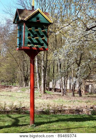 Large birdhouse in the city park in Lodz, Poland