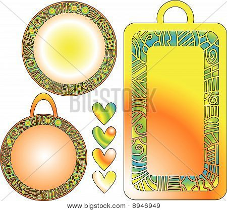 colorful tag collection and hearts