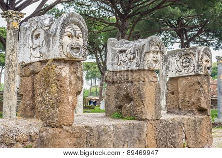 Roman Masks In The Old Town Of Ostia, Rome, Italy