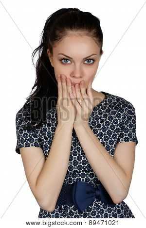 Girl In A Depression In A Dress On A White Background