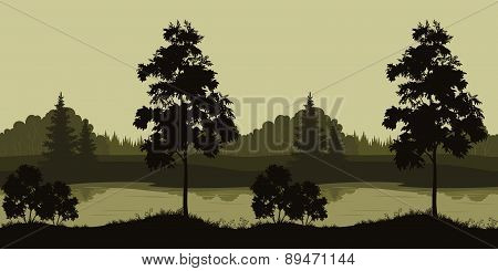 Seamless Landscape, Trees and River