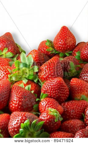 Macro shot on a group of strawberries, ideal for backgrounds
