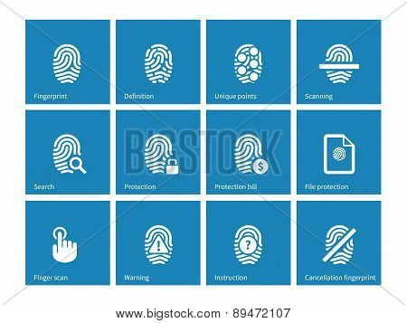 Fingerprint icons on blue background.