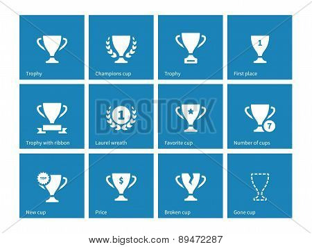 Champions cup icons on blue background.
