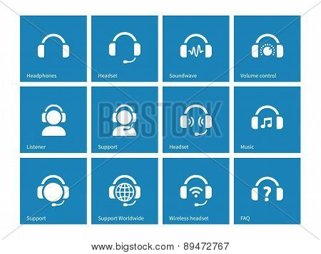 Headphone icons on blue background.