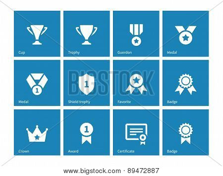 Awards icons on blue background.