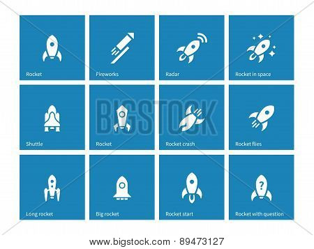 Flat rocket icons on blue background.