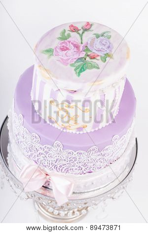 Delicious luxury white wedding or birthday cake
