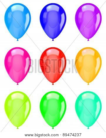 Isolated Colorful Balloons Collection