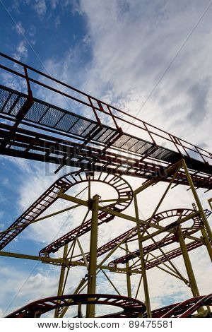 abandoned roller coaster, icon fair, stop, ups and downs