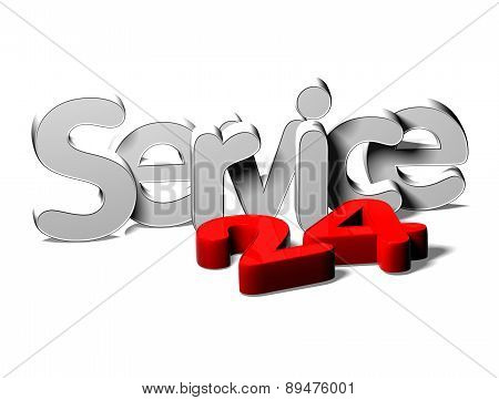 3D Silver Word Service 24 On White Background