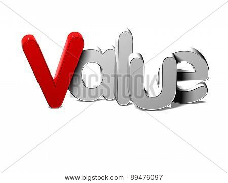 3D Silver Word Value On White Background