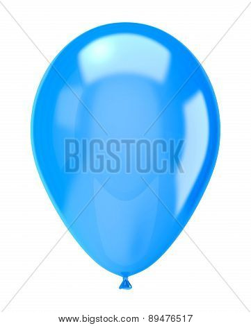Single Blue Balloon Isolated