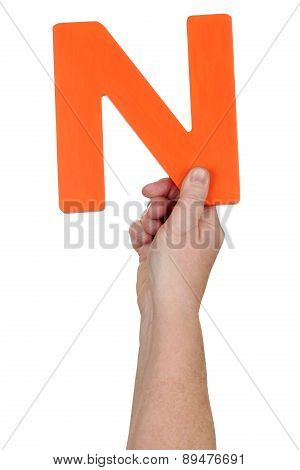 Hand Holding Letter N From Alphabet