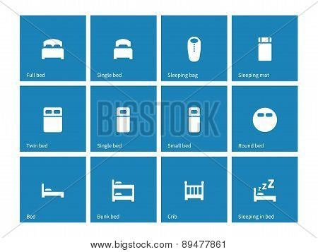 Furniture and bed icons on blue background.