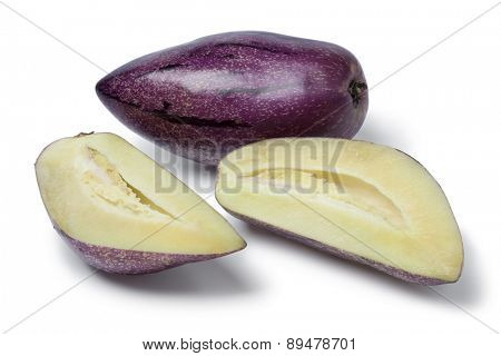 Fresh whole and partial pepino fruit on white background