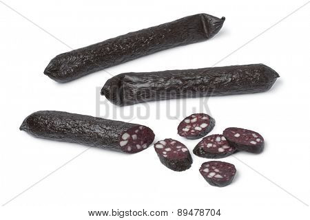 Traditional German black pudding sausage and slices on white background