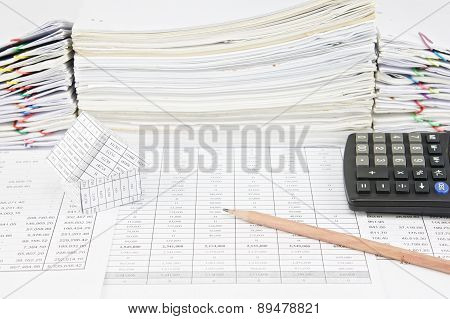 Brown Pencil And House With Calculator