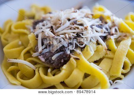 Tagliatelle With Radicchio, Mushrooms And Smoked Ricotta