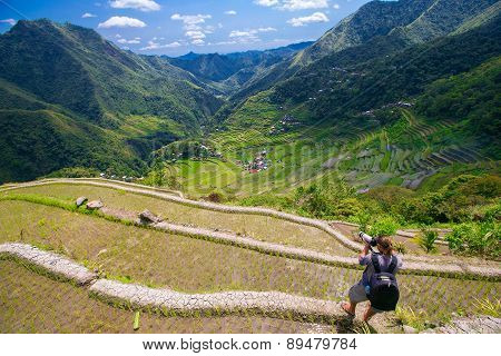 A Man Photographs The Landscape. Rice Terraces In The Philippines.