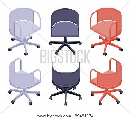 Isometric office colored chairs