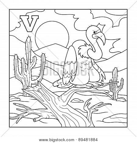 Coloring Book (vulture), Colorless Illustration (letter V)