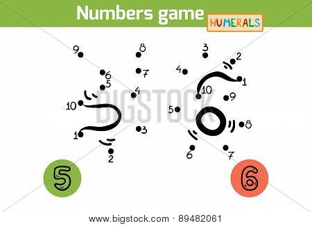 Numbers Game (numerals): Five, Six. Numbers From One To Ten