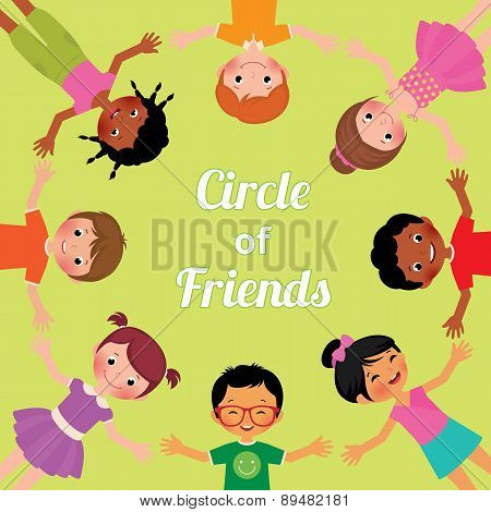 Friendship Children Of The World, The Circle Of Girls And Boys Of Different Races