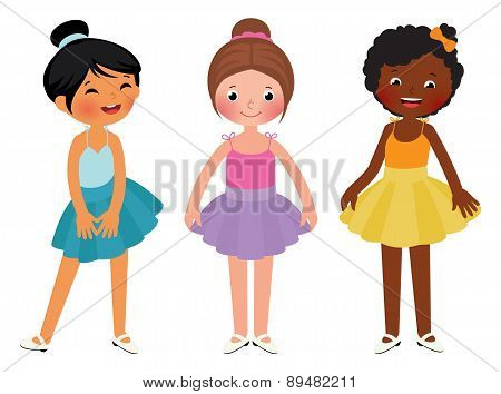 Little Girls Different Ethnic Dancer