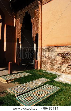 The Saadian Tombs, MARRAKECH, MOROCCO - April 13, 2015: dating back from the time of sultan Ahmad al