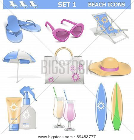 Vector Beach Icons Set 1