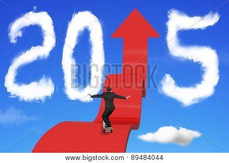 Skateboarding Businessman On Arrow Upward Path With 2015 Clouds Sky