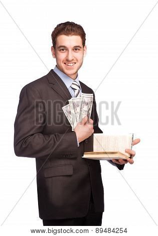 Man With Money And Book In Suit