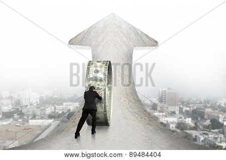 Businessman Pushing Money Circle On Arrow Marble Road With Cityscape