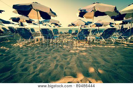 Umbrellas At A Beach