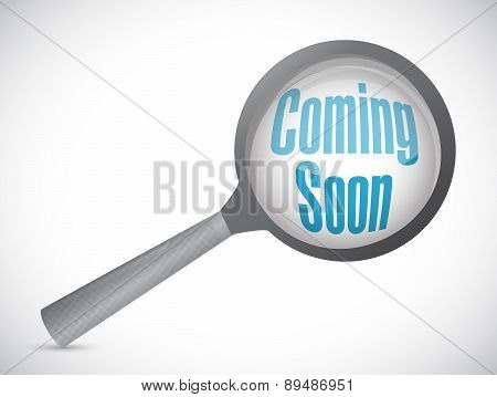 Coming Soon Magnify Glass Sign Concept