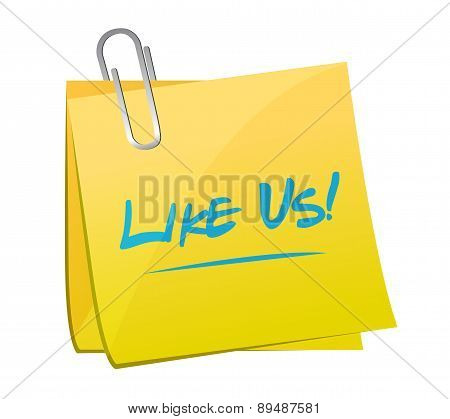 Like Us Memo Post Sign Concept