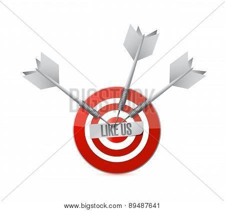 Like Us Target Sign Concept Illustration