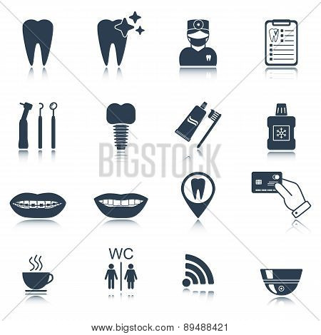 Dental Icons. Silhouette. Glossy Reflection. Isolated. Vector