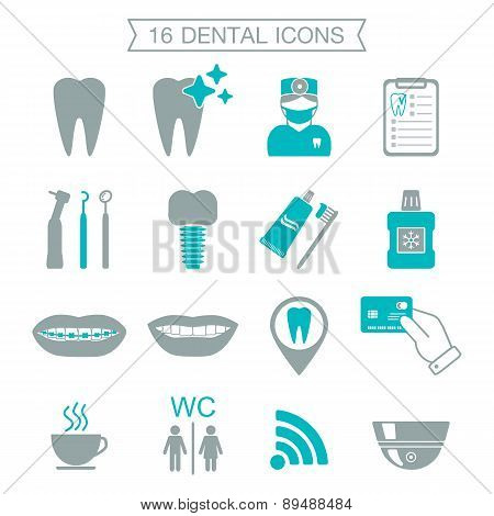 16 Dental Icons. Silhouette. Color Block. Isolated. Vector