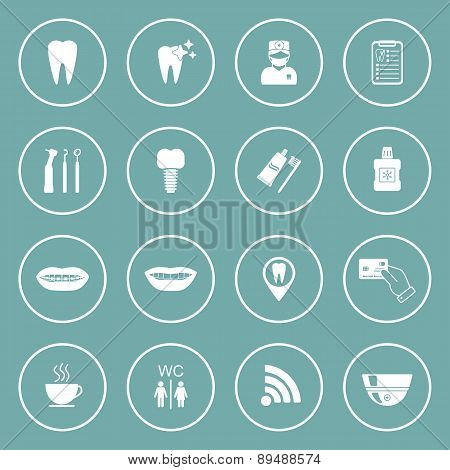 Set Of Dental Icons. Isolated. White. Vector