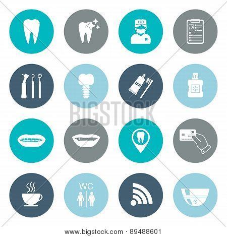 Set Of Dental Icons. Silhouette. White. Flat Design. Vector