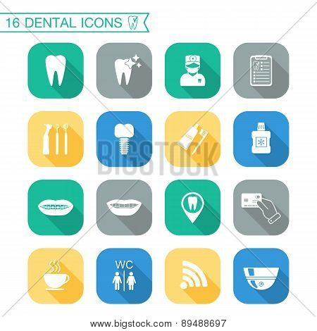 Set Of Dental Icons. Silhouette  Flat Design. Vector