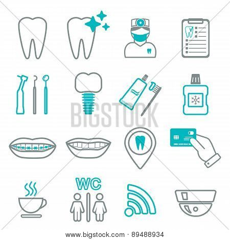 16 Line Of Dental Icons. Isolated. Color Block. Vector