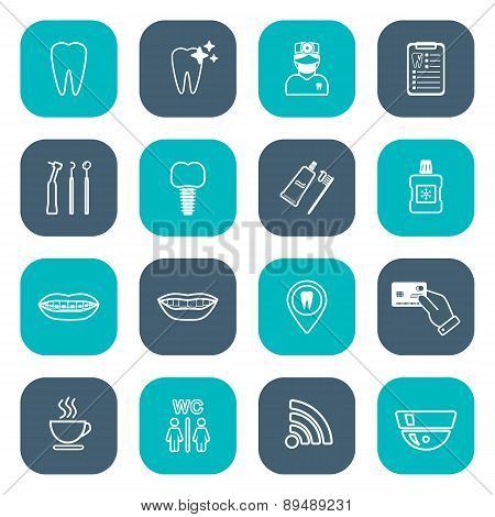 Set Of Linear Dental Icons. Flat Design. White. Vector