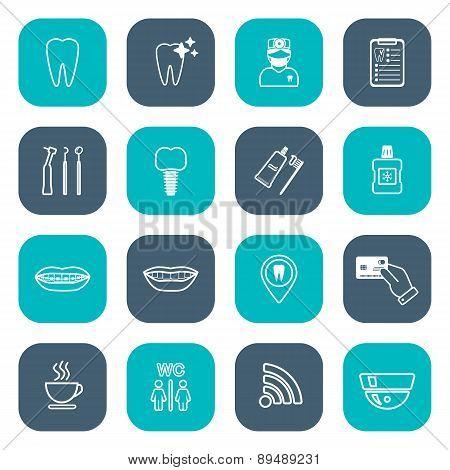Set Of Linear Dental Icons. Flat Design. White. Vector